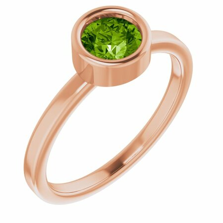Genuine Peridot Ring in 14 Karat Rose Gold 5.5 mm Round Peridot Ring