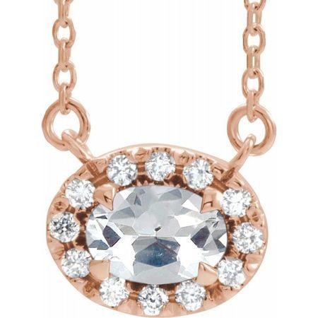 White Diamond Necklace in 14 Karat Rose Gold 5/8 Carat Diamond 16