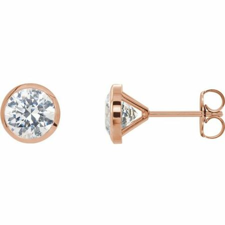 White Diamond Earrings in 14 Karat Rose Gold 5/8 Carat Diamond CocKaratail-Style Earrings
