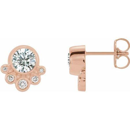 White Diamond Earrings in 14 Karat Rose Gold 5/8 Carat Diamond Earrings