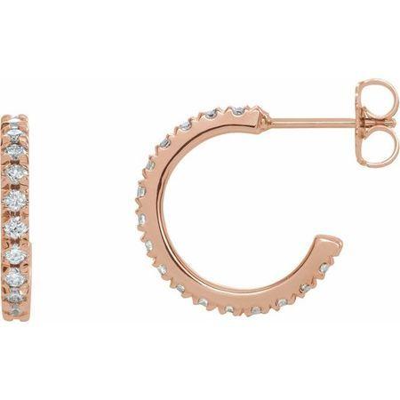 White Diamond Earrings in 14 Karat Rose Gold 5/8 Carat Diamond French-Set J-Hoop Earrings - SI2-SI3 G-H Canada Mark