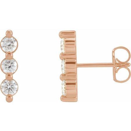 White Diamond Earrings in 14 Karat Rose Gold 5/8 Carat Diamond Three-Stone Bar Earrings