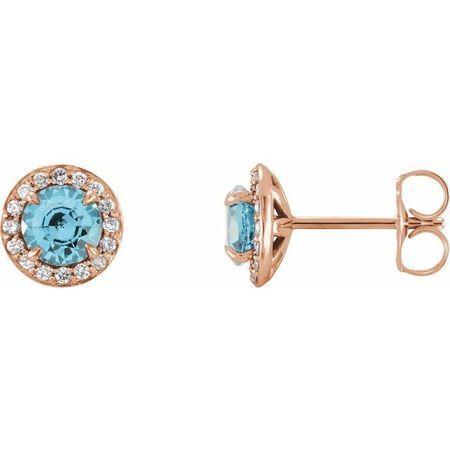 Genuine Aquamarine Earrings in 14 Karat Rose Gold 5 mm Round Aquamarine & 1/8 Carat Diamond Earrings