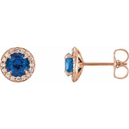 Genuine Sapphire Earrings in 14 Karat Rose Gold 5 mm Round Genuine Sapphire & 1/8 Carat Diamond Earrings