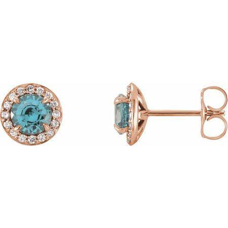 Genuine Zircon Earrings in 14 Karat Rose Gold 5 mm Round Genuine Zircon & 1/8 Carat Diamond Earrings