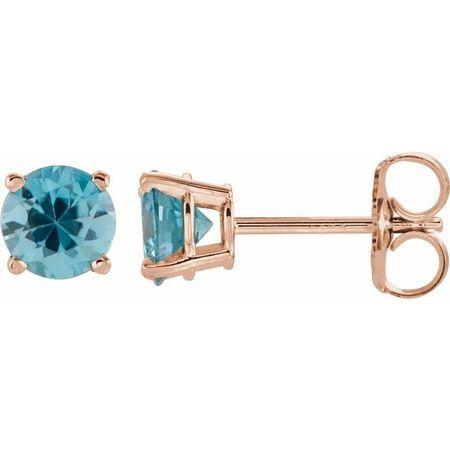 Genuine Zircon Earrings in 14 Karat Rose Gold 5 mm Round Genuine Zircon Earrings