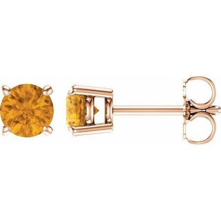 14 Karat Rose Gold 5 mm Round Citrine Earrings