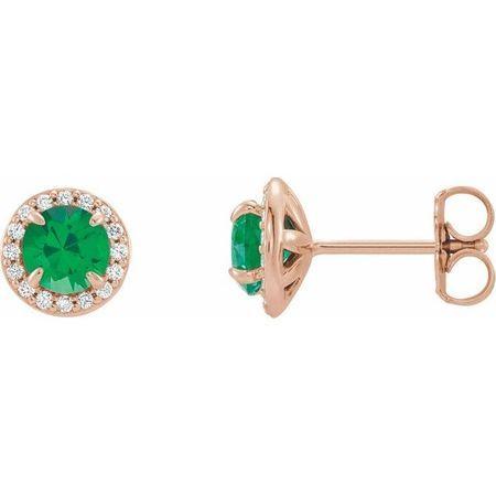 Genuine Emerald Earrings in 14 Karat Rose Gold 5 mm Round Emerald & 1/8 Carat Diamond Earrings