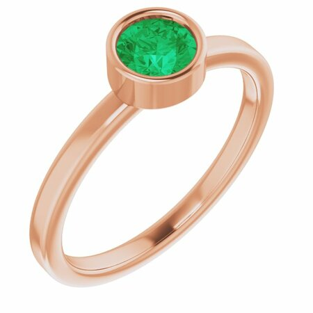 Genuine Emerald Ring in 14 Karat Rose Gold 5 mm Round Emerald Ring