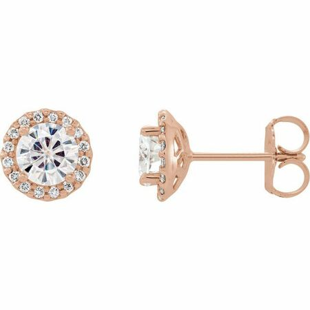 Created Moissanite Earrings in 14 Karat Rose Gold 5 mm Round Forever One Moissanite and 1/8 Carat Diamond Earrings