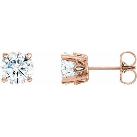 Created Moissanite Earrings in 14 Karat Rose Gold 5 mm Round Forever One Moissanite Earrings
