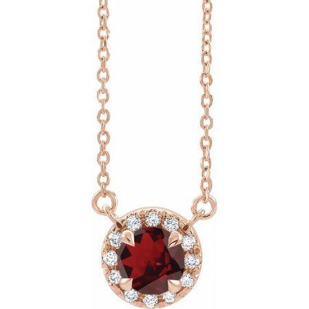Red Garnet Necklace in 14 Karat Rose Gold 5 mm Round Mozambique Garnet & 1/8 Carat Diamond 16