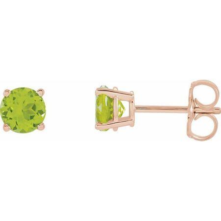 14 Karat Rose Gold 5 mm Round Peridot Earrings