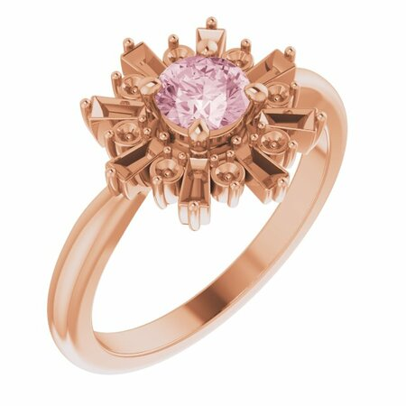 Pink Morganite Ring in 14 Karat Rose Gold 5 mm Round Pink Morganite & 3/8 Carat Diamond Ring