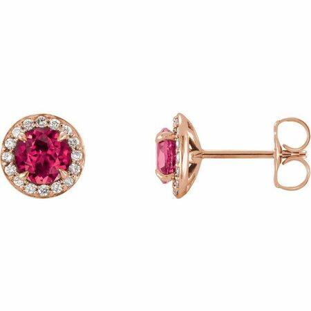 Genuine Ruby Earrings in 14 Karat Rose Gold 5 mm Round Ruby & 1/8 Carat Diamond Earrings