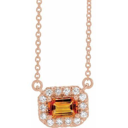 Golden Citrine Necklace in 14 Karat Rose Gold 5x3 mm Emerald Citrine & 1/8 Carat Diamond 18