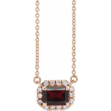 Red Garnet Necklace in 14 Karat Rose Gold 5x3 mm Emerald Mozambique Garnet & 1/8 Carat Diamond 16