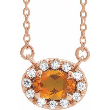Golden Citrine Necklace in 14 Karat Rose Gold 5x3 mm Oval Citrine & .05 Carat Diamond 18