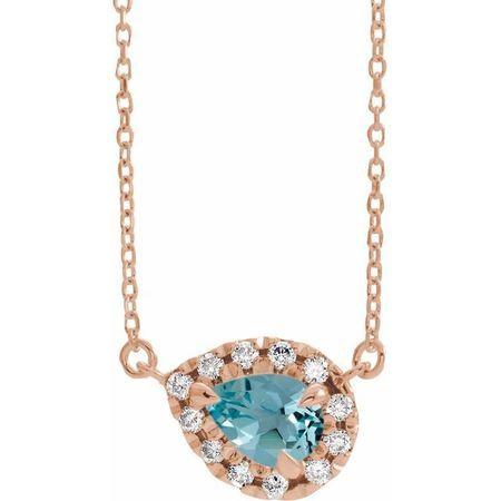 Genuine Zircon Necklace in 14 Karat Rose Gold 5x3 mm Pear Genuine Zircon & 1/8 Carat Diamond 16