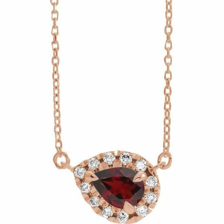 Red Garnet Necklace in 14 Karat Rose Gold 5x3 mm Pear Mozambique Garnet & 1/8 Carat Diamond 16