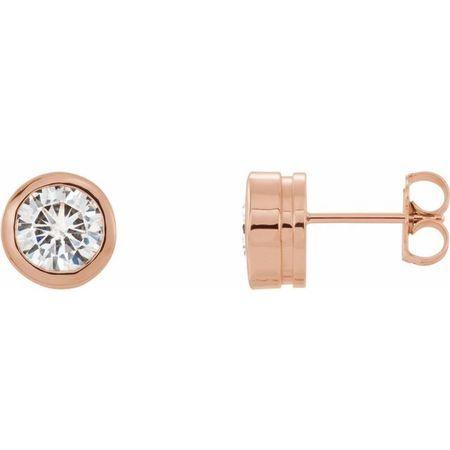 Created Moissanite Earrings in 14 Karat Rose Gold 6.5 mm Round Forever One Moissanite Earrings