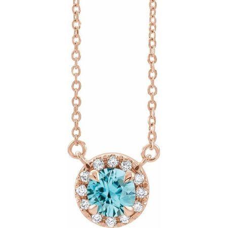 Genuine Zircon Necklace in 14 Karat Rose Gold 6 mm Round Genuine Zircon & 1/5 Carat Diamond 18