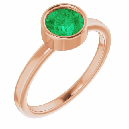 Genuine Emerald Ring in 14 Karat Rose Gold 6 mm Round Emerald Ring