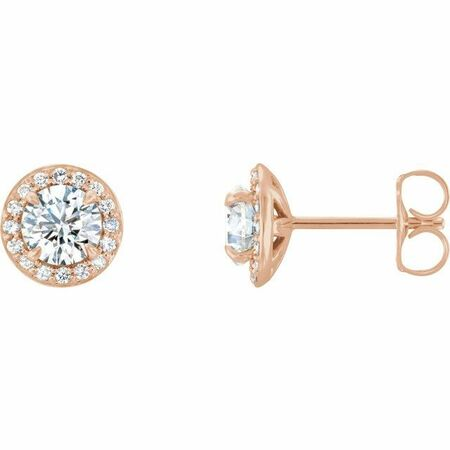 Created Moissanite Earrings in 14 Karat Rose Gold 6 mm Round Forever One Moissanite & 1/5 Carat Diamond Earrings