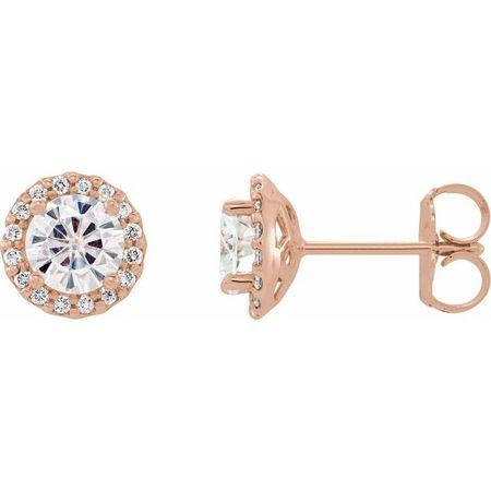 Created Moissanite Earrings in 14 Karat Rose Gold 6 mm Round Forever One Moissanite and 1/8 Carat Diamond Earrings