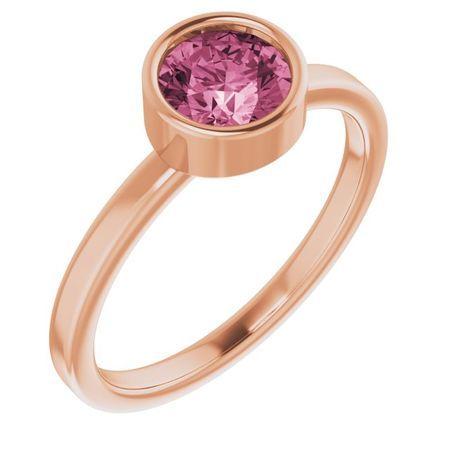 Pink Tourmaline Ring in 14 Karat Rose Gold 6 mm Round Pink Tourmaline Ring