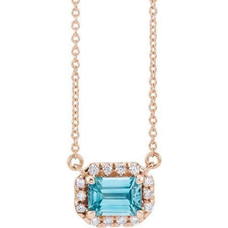 Genuine Zircon Necklace in 14 Karat Rose Gold 6x4 mm Emerald Genuine Zircon & 1/5 Carat Diamond 16