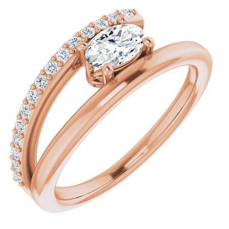 Created Moissanite Ring in 14 Karat Rose Gold 6x4 mm Oval Forever One Moissanite & 1/8 Carat Diamond Ring