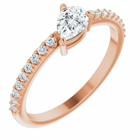 Created Moissanite Ring in 14 Karat Rose Gold 6x4 mm Pear Forever One Moissanite & 1/6 Carat Diamond Ring