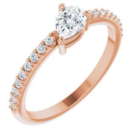 Created Moissanite Ring in 14 Karat Rose Gold 6x4 mm Pear Forever One Moissanite & 1/6 Carat Diamond Ring