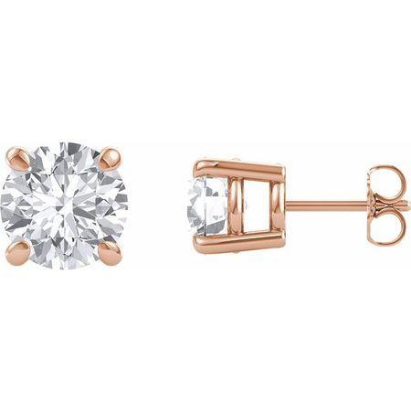 Created Moissanite Earrings in 14 Karat Rose Gold 7.5 mm Round Forever One Moissanite Earrings