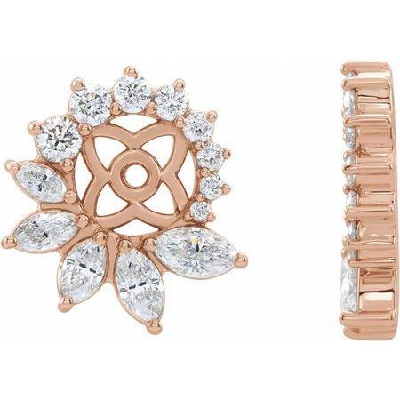 White Diamond Earrings in 14 Karat Rose Gold 7/8 Carat Diamond Earring Jackets with 6 mm ID