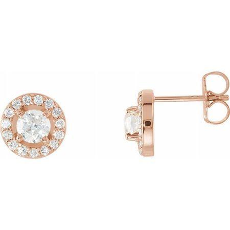 White Diamond Earrings in 14 Karat Rose Gold 7/8 Carat Diamond Halo-Style Earrings
