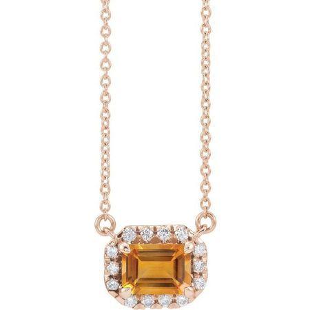 Golden Citrine Necklace in 14 Karat Rose Gold 7x5 mm Emerald Citrine & 1/5 Carat Diamond 16
