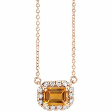 Golden Citrine Necklace in 14 Karat Rose Gold 7x5 mm Emerald Citrine & 1/5 Carat Diamond 18
