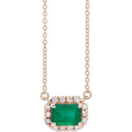 Genuine Emerald Necklace in 14 Karat Rose Gold 7x5 mm Emerald Emerald & 1/5 Carat Diamond 18