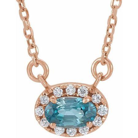 Genuine Zircon Necklace in 14 Karat Rose Gold 7x5 mm Oval Genuine Zircon & 1/6 Carat Diamond 16