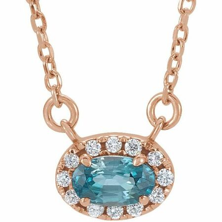 Genuine Zircon Necklace in 14 Karat Rose Gold 7x5 mm Oval Genuine Zircon & 1/6 Carat Diamond 18