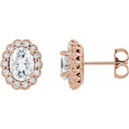 Created Moissanite Earrings in 14 Karat Rose Gold 7x5 mm Oval Forever One Moissanite & 3/8 Carat Diamond Earrings
