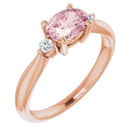 Pink Morganite Ring in 14 Karat Rose Gold 7x5 mm Oval Morganite & .08 Carat Diamond Ring