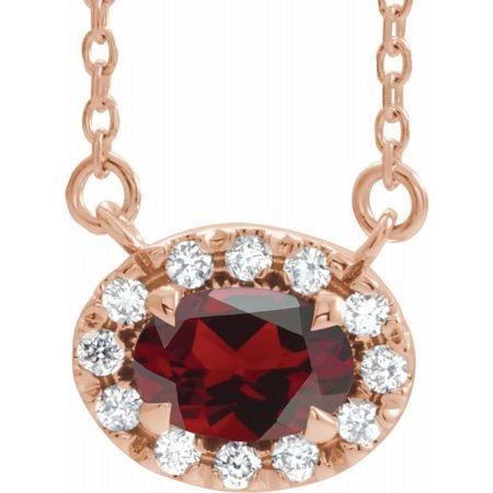 Red Garnet Necklace in 14 Karat Rose Gold 7x5 mm Oval Mozambique Garnet & 1/6 Carat Diamond 16