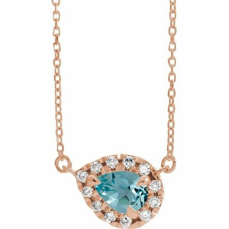 Genuine Zircon Necklace in 14 Karat Rose Gold 7x5 mm Pear Genuine Zircon & 1/6 Carat Diamond 18