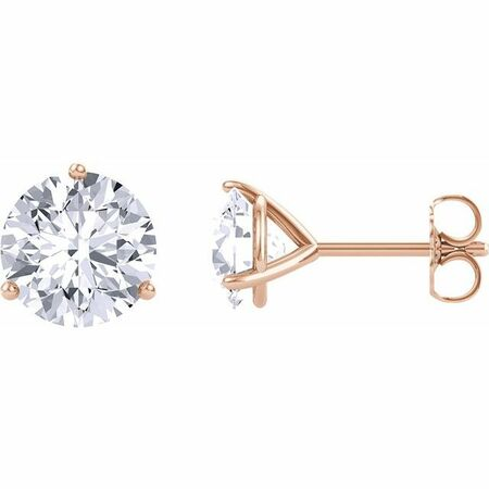 Created Moissanite Earrings in 14 Karat Rose Gold 8 mm Round Forever One Moissanite Earrings