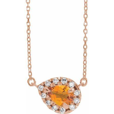 Golden Citrine Necklace in 14 Karat Rose Gold 8x5 mm Pear Citrine & 1/5 Carat Diamond 18