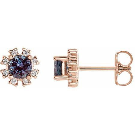 Genuine Alexandrite Earrings in 14 Karat Rose Gold Alexandrite & .07 Carat Diamond Earrings
