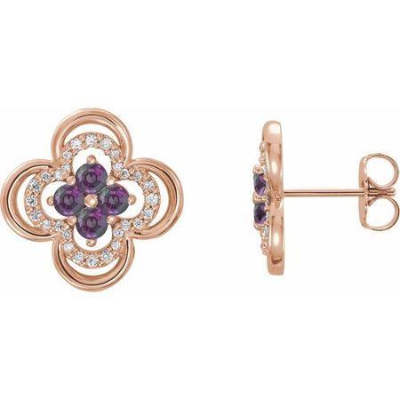 Genuine Alexandrite Earrings in 14 Karat Rose Gold Alexandrite & 1/5 Carat Diamond Clover Earrings